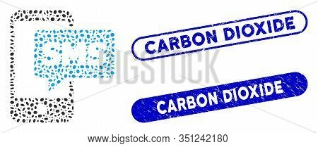 Mosaic Phone Sms And Corroded Stamp Watermarks With Carbon Dioxide Text. Mosaic Vector Phone Sms Is
