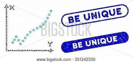 Mosaic Function Plot And Rubber Stamp Seals With Be Unique Phrase. Mosaic Vector Function Plot Is Cr