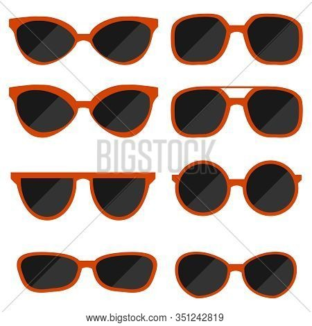 Sunglasses, Set Of Sunglasses Isolated On White. Vector, Cartoon Illustration Of Red Sunglasses.