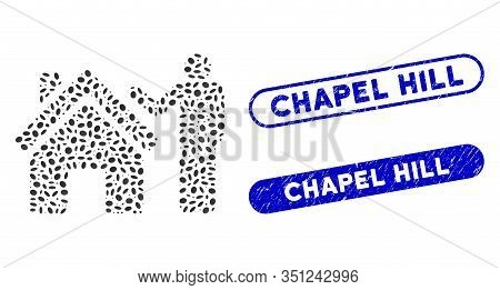 Mosaic Realty Buyer And Corroded Stamp Seals With Chapel Hill Text. Mosaic Vector Realty Buyer Is Co