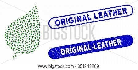 Mosaic Plant Leaf And Grunge Stamp Seals With Original Leather Caption. Mosaic Vector Plant Leaf Is