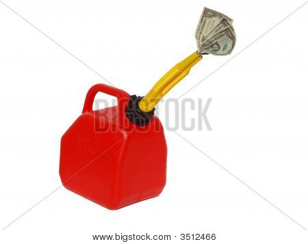 Red Gas Can With Money