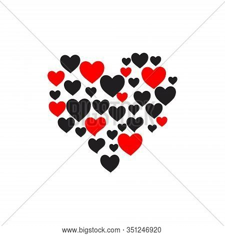 Heart Icon. Love Icon In Which There Are Several Heart Icons That Are Black And Red, Heart Icons Are