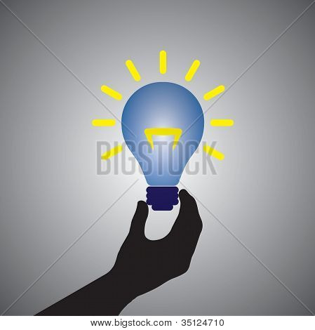 Graphic Of Person Holding Colorful Bright Incandescent Light Bulb- Can Be Conceptually Used For Prob
