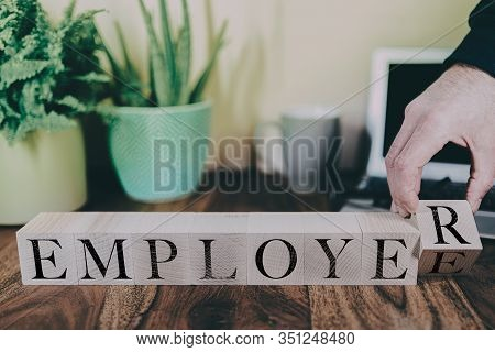 Transition From Employee To Employer, Business Or Entrepreneur Concept With Wooden Blocks