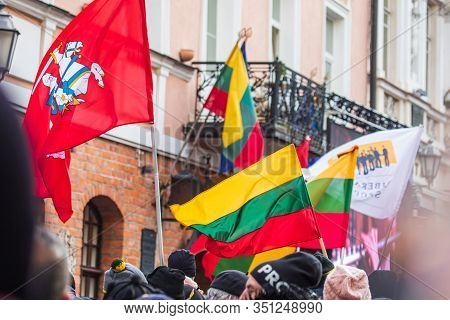 Vilnius, Lithuania - Feb 16, 2020: Crowd During The Speech Of Vytautas Landsbergis, Lithuanian First