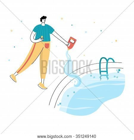 Vector Isolated Illustration Of Man Shocks And Algaecides The Swimming Pool Water With Chemicals. Sw
