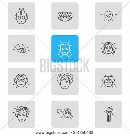 Vector Illustration Of 12 Emotions Icons Line Style. Editable Set Of Contribution, Grieving, Problem