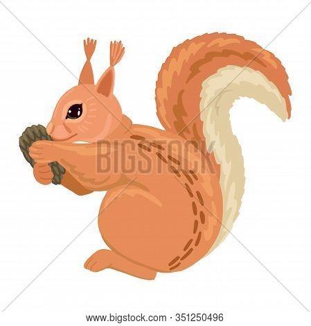 Squirrel Holding A Pinecone. Vector Cartoon Illustration