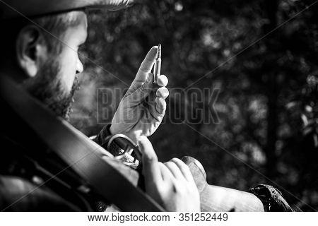 Hunter With Shotgun Gun On Hunt. Closed And Open Hunting Season. Big Game. Gun Rifle And Cartridge C