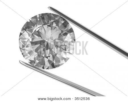 A Diamond Held In Tweezers