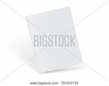 Mock Up Vector White Magazine Standing On White Background