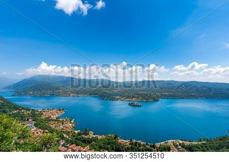 Panorama Of Lake Orta In Piedmont (piemonte), Italy With The St. Julius Island (isola Di San Giulio)