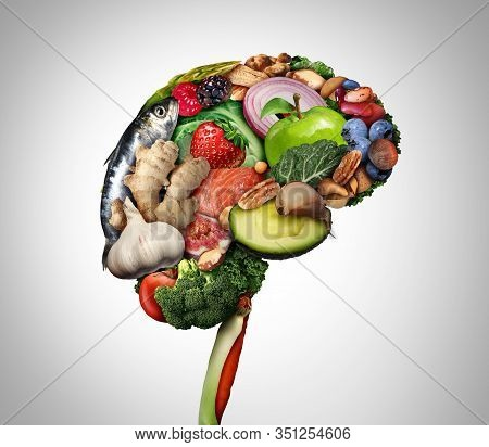 Healthy Brain Food To Boost Brainpower Nutrition Concept As A Group Of Nutritious Nuts Fish Vegetabl