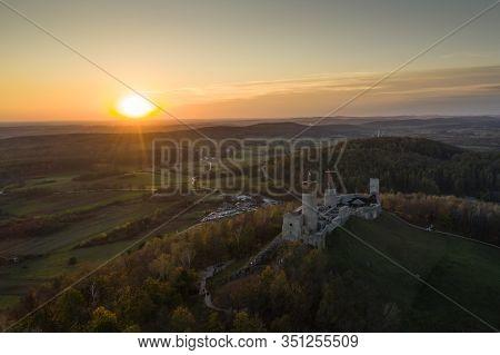 Aerial View Of Castle Checiny Near Kielce,poland
