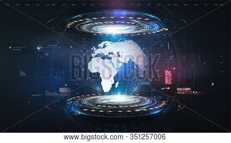 Hologram Earth For Concept Design. Blue Futuristic Background With Planet Earth. Abstract Tech Desig