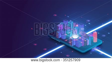 Smart City Or Intelligent Building Isometric Vector Concept. Building Automation With Computer Netwo