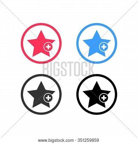 Favorites Icon With Plus Symbol. Favorite Icon, Star Add Plus Sign, Bookmark Symbol, Button