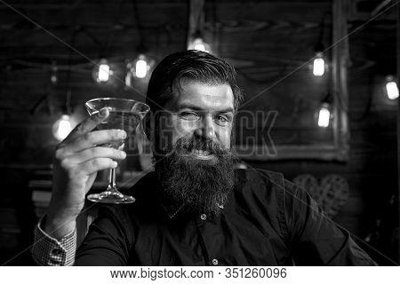 Drunk Man. Liquor Martini Concept. Drink Barman. Pub Retro Vintage Interior. Hipster Barman Concept.