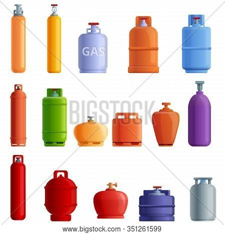 Gas Cylinders Icons Set. Cartoon Set Of Gas Cylinders Vector Icons For Web Design