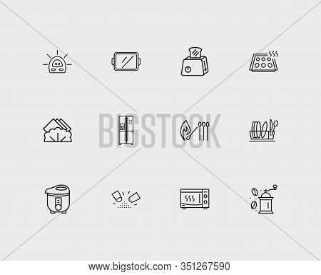 Kitchenware Icons Set. Timer And Kitchenware Icons With Toaster, Tray And Fridge. Set Of Clean For W