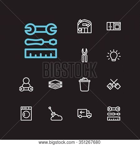 Housework Icons Set. Clean Farm And Housework Icons With Bucket, Kitchen And Lighting. Set Of Basket