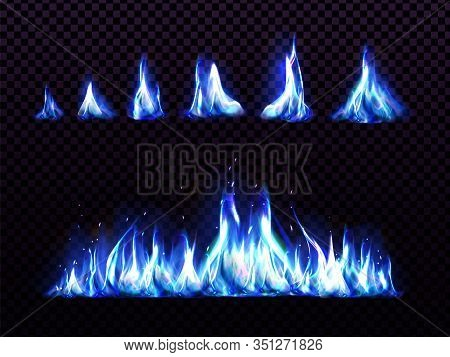 Realistic Blue Fire Set For Animation, Torch Flame Isolated On Transparent Background. Burning Blaze