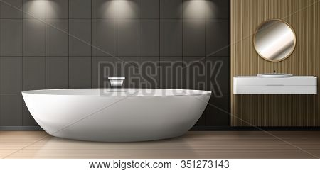 Bathroom Interior With Bath, Sink And Round Mirror. Vector Realistic Illustration Of Modern Washroom