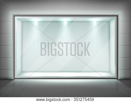 Glass Wall Frame, Transparent Showcase With Spotlight Illumination In Empty Exhibition Room In Museu
