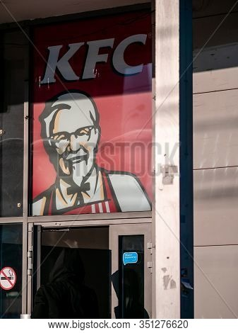 Moscow, Russia - February 8, 2020: Signboard Of A Fast-food Restaurant Kfc - An International Chain