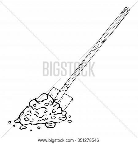 Shovel With Soil Icon. Vector Illustration Of A Shovel For The Garden. Hand Drawn Shovel To The Grou