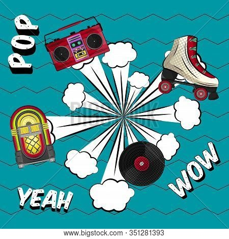Neon Jukebox, Vintage Radio, Retro Roller Skate And Vinyl Recordwith A Comic Expression. Pop Art Ill