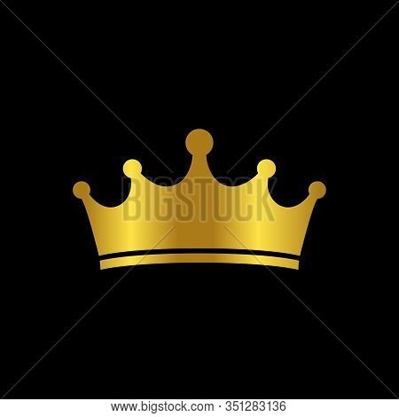 Gold Crown Vector. King Design. Royal Icon. Isolated Realistic Illustration