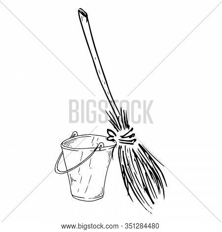 Bucket And Broom Icon. Vector Illustration Of A Broom With A Bucket For Cleaning.