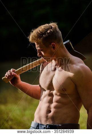Having A Little Break. Muscular Man With Axe. Sexy Macho Bare Belly Ax. Bodybuilding. Lumberjack Woo