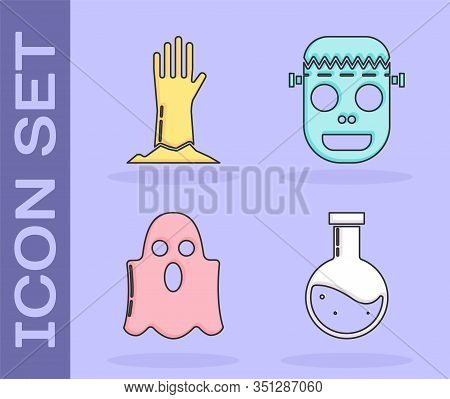 Set Bottle With Potion , Zombie Hand , Ghost And Zombie Mask Icon. Vector