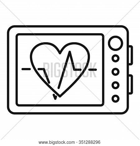 Online Cardiogram Icon. Outline Online Cardiogram Vector Icon For Web Design Isolated On White Backg