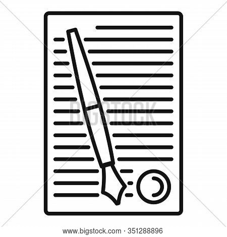 Legislation Paper Icon. Outline Legislation Paper Vector Icon For Web Design Isolated On White Backg