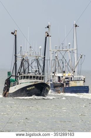 New Bedford, Massachusetts, Usa - July 17, 2019: Commercial Fishing Boats Perception And Virginia Da