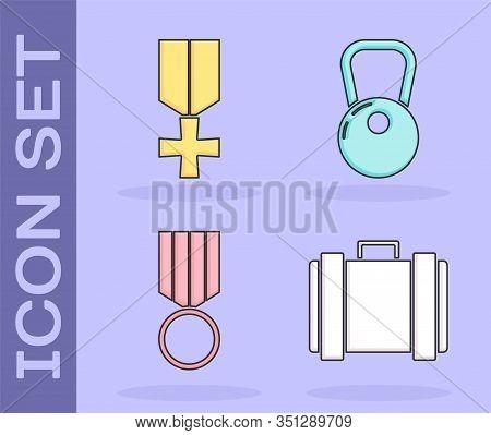 Set Military Ammunition Box, Military Reward Medal , Military Reward Medal And Kettlebell Icon. Vect