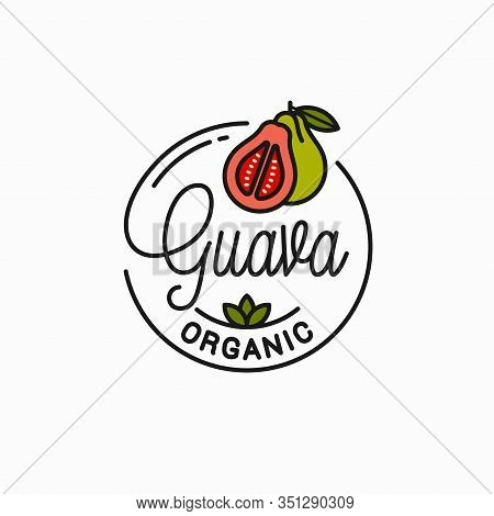 Guava Fruit Logo. Round Linear Of Guava Slice