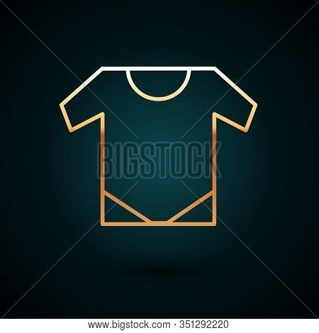 Gold Line Baby Onesie Icon Isolated On Dark Blue Background. Baby Clothes Symbol. Kid Wear Sign. Vec