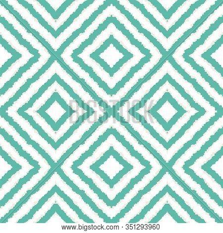 Indigo Geometric Tie Dye Vector Seamless Pattern. Elegant Tile Japan Texture. Ethnic Ogee Background