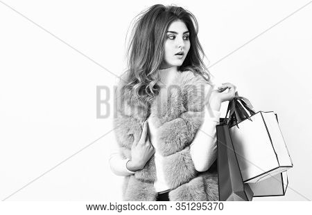Shopping And Gifts. Fashionista Buy Clothes On Black Friday. Girl Makeup Furry Violet Vest Shopping