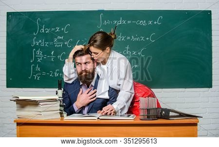 Emancipation. Couple In Love In School. Sensual Couple In Class. Sexy Girl Dominating Shy Man. Relat