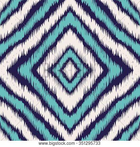 Indigo Repeat Carpet Vector Seamless Pattern. Geometric Batik Uzbek Texture. Aztec Graphic Design. I