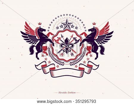 Heraldic Coat Of Arms, Vintage Vector Emblem Composed With Ancient Weapon, Hatchets And Spears. Vect