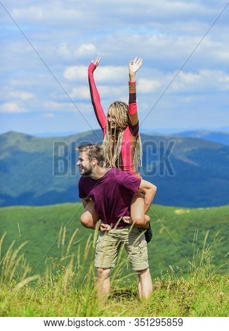Two Hearts Full Of Love. Couple In Love Summer Vacation. Romantic Relations. Journey To Mountains Co