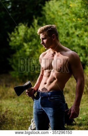 Handsome Shirtless Man With Muscular Body. Muscular Man With Axe. Man Brutal Sexy Carry Axe. Brutali