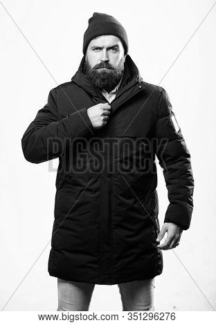Stylish And Comfortable. Hipster Modern Fashion. Guy Wear Hat And Black Winter Jacket. Hipster Style